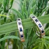 0.36 Carat (ctw) 10k White Gold Round White Diamond & Blue Sapphire Ladies Huggie Hoop Earrings 1/3 CT