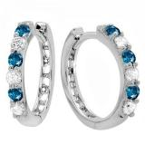 0.33 Carat (ctw) 14k White Gold Round Blue & White Diamond Ladies Huggies Hoop Earrings 1/3 CT