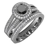 1.25 Carat (ctw) Black Rhodium Plated 14k White Gold Round White And Black Diamond Ladies Split Shank Halo Style Bridal Engagement Ring Set With Matching Band 1 1/4 CT