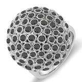3.25 Carat (ctw) 14k White Gold Round Black Diamonds Ladies Cocktail Fireball Right Hand Ring