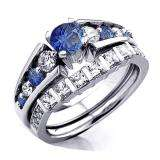1.54 Carat (ctw) 14k White Gold Princess & Round White Diamond And Blue Sapphire Ladies Bridal Ring Set Engagement Set 1 1/2 CT