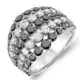 3.25 Carat (ctw) 14k White Gold Round White & Black Diamond Ladies Cocktail Right Hand Ring 3 1/4 CT