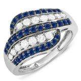1.05 Carat (ctw) 18k White Gold Round Blue Sapphire & White Diamond Ladies Cocktail Right Hand 1 CT