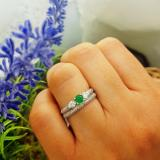 0.85 Carat (ctw) 10k White Gold Round Green Emerald And White Diamond 3 Stone Ladies Bridal Engagement Ring Wedding Band Set