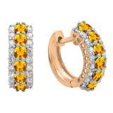 Round Citrine & White Diamond Ladies Huggies Hoop Earrings, 14K Rose Gold