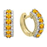 Round Citrine & White Diamond Ladies Huggies Hoop Earrings, 14K Yellow Gold