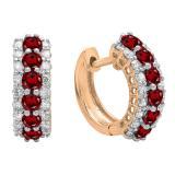 Round Garnet & White Diamond Ladies Huggies Hoop Earrings, 14K Rose Gold