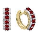 Round Garnet & White Diamond Ladies Huggies Hoop Earrings, 18K Yellow Gold
