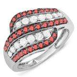1.05 Carat (ctw) 18k White Gold Round Ruby & White Diamond Ladies Cocktail Right Hand Ring 1 CT