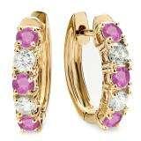 1.00 Carat (ctw) 14K Yellow Gold Round Pink Sapphire & White Diamond Ladies Huggies Hoop Earrings 1 CT