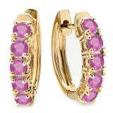 1.00 Carat (ctw) 14K Yellow Gold Round Pink Sapphire Ladies Huggies Hoop Earrings 1 CT