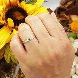 0.35 Carat (ctw) 18k White Gold Round Green Emerald & White Diamond Ladies 3 stone Engagement Bridal Ring 1/3 CT