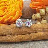 0.40 Carat (ctw) 10K White Gold Round Cut White Diamond & Pink Sapphire Ladies Cluster Flower Stud Earrings