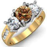 2.00 Carat (ctw) 10K Yellow Gold Round Champagne & White Diamond Ladies 3 Stone Engagement Bridal Ring 2 CT