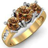 2.00 Carat (ctw) 10K Yellow Gold Round Champagne & White Diamond Ladies 3 Stone Engagement Bridal Ring 2 CT