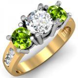 2.00 Carat (ctw) 18K Yellow Gold Round Green Peridot & White Diamond Ladies 3 Stone Engagement Bridal Ring 2 CT