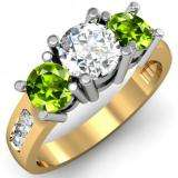 2.00 Carat (ctw) 14K Yellow Gold Round Green Peridot & White Diamond Ladies 3 Stone Engagement Bridal Ring 2 CT