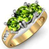2.00 Carat (ctw) 14K Yellow Gold Round Green Peridot & White Diamond Ladies 3 Stone Engagement Bridal Ring 2 CT