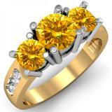 2.00 Carat (ctw) 18K Yellow Gold Round Yellow & White Diamond Ladies 3 Stone Engagement Bridal Ring 2 CT