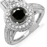 2.56 Carat (ctw) 14K White Gold Round Black & White Diamond Ladies Vintage Halo Style Engagement Bridal Ring