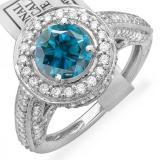 2.56 Carat (ctw) 14K White Gold Round Blue & White Diamond Ladies Vintage Halo Style Engagement Bridal Ring