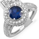 2.56 Carat (ctw) 14K White Gold Round Blue Sapphire & White Diamond Ladies Vintage Halo Style Engagement Bridal Ring