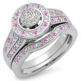 0.50 Carat (ctw) Sterling Silver Round Pink Sapphire & White Diamond Ladies Split Shank Bridal Engagement Ring Set Matching Wedding Band 1/2 CT
