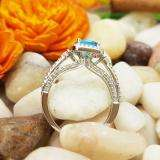 2.10 Carat (ctw) 18k White Gold Round Blue Topaz & White Diamond Ladies Engagement Halo Bridal Ring