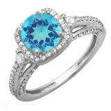 2.10 Carat (ctw) 14k White Gold Round Blue Topaz & White Diamond Ladies Engagement Halo Bridal Ring