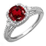 2.10 Carat (ctw) 14k White Gold Round Red Garnet & White Diamond Ladies Engagement Halo Bridal Ring