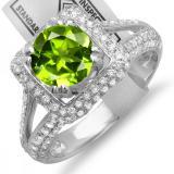 2.50 Carat (ctw) 14K White Gold Round Green Peridot & White Diamond Halo Style Engagement Bridal Ring