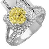 2.50 Carat (ctw) 10K White Gold Round Yellow & White Diamond Halo Style Engagement Bridal Ring