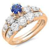 2.00 Carat (ctw) 14k Rose Gold Round Blue Sapphire & White Diamond Ladies 3 Stone Bridal Engagement Ring Matching Band Set 2 CT