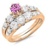 2.00 Carat (ctw) 14k Rose Gold Round Pink Sapphire & White Diamond Ladies 3 Stone Bridal Engagement Ring Matching Band Set 2 CT