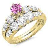 2.00 Carat (ctw) 14k Yellow Gold Round Pink Sapphire & White Diamond Ladies 3 Stone Bridal Engagement Ring Matching Band Set 2 CT