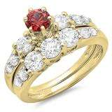 2.00 Carat (ctw) 10k Yellow Gold Round Red Ruby & White Diamond Ladies 3 Stone Bridal Engagement Ring Matching Band Set 2 CT