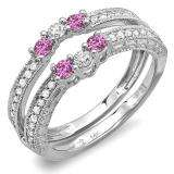 0.60 Carat (ctw) 14k White Gold Round Pink Sapphire And White Diamond Ladies Anniversary Wedding Band Enhancer Guard