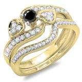 0.75 Carat (ctw) 10K Yellow Gold Round Black & White Diamond Ladies Bridal Engagement Ring With Two Wedding Bands 3 Piece Set 3/4 CT