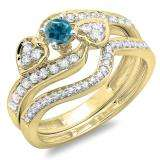 0.75 Carat (ctw) 10K Yellow Gold Round Blue & White Diamond Ladies Bridal Engagement Ring With Two Wedding Bands 3 Piece Set 3/4 CT