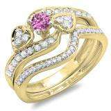 0.75 Carat (ctw) 10K Yellow Gold Round Pink Sapphire & White Diamond Ladies Bridal Engagement Ring With Two Wedding Bands 3 Piece Set 3/4 CT