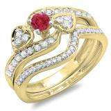 0.75 Carat (ctw) 18K Yellow Gold Round Red Ruby & White Diamond Ladies Bridal Engagement Ring With Two Wedding Bands 3 Piece Set 3/4 CT