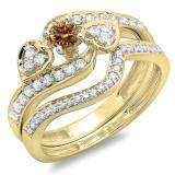 0.75 Carat (ctw) 10K Yellow Gold Round Champagne & White Diamond Ladies Bridal Engagement Ring With Two Wedding Bands 3 Piece Set 3/4 CT