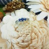 0.45 Carat (ctw) 10K White Gold Round Blue Sapphire & White Diamond Ladies 3 Stone Bridal Engagement Promise Ring 1/2 CT