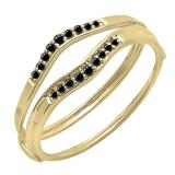 0.12 Carat (ctw) 10K Yellow Gold Round Black Diamond Ladies Anniversary Enhancer Guard Wedding Band