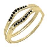0.12 Carat (ctw) 14K Yellow Gold Round Black Diamond Ladies Anniversary Enhancer Guard Wedding Band