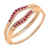 0.12 Carat (ctw) 14K Rose Gold Round Red Ruby Ladies Anniversary Enhancer Guard Wedding Band