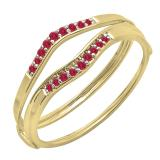 0.12 Carat (ctw) 14K Yellow Gold Round Red Ruby Ladies Anniversary Enhancer Guard Wedding Band