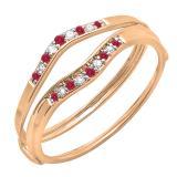 0.12 Carat (ctw) 10K Rose Gold Round Red Ruby & White Diamond Ladies Anniversary Enhancer Guard Wedding Band