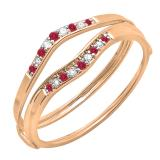0.12 Carat (ctw) 14K Rose Gold Round Red Ruby & White Diamond Ladies Anniversary Enhancer Guard Wedding Band