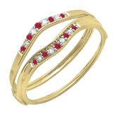 0.12 Carat (ctw) 14K Yellow Gold Round Red Ruby & White Diamond Ladies Anniversary Enhancer Guard Wedding Band